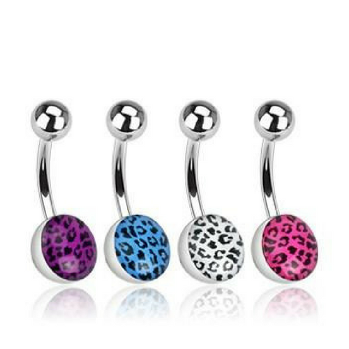 Leopard Print 316L Surgical Steel Basic Belly Ring
