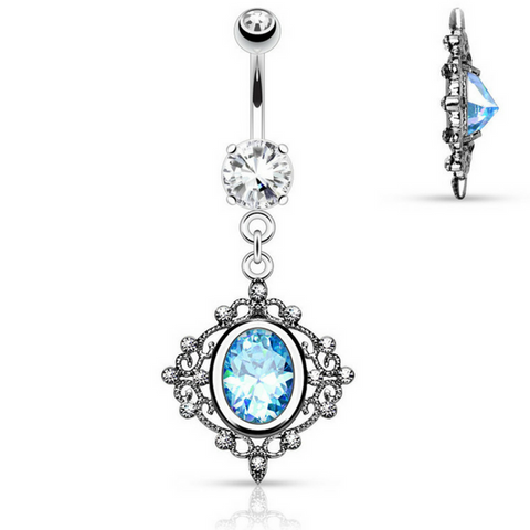 Lagoon Blue Filigree Belly Button Bar
