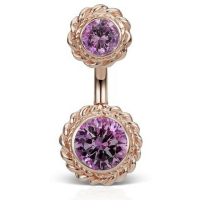 Maria Tash Amethyst Braid 14k Rose Gold Belly Ring