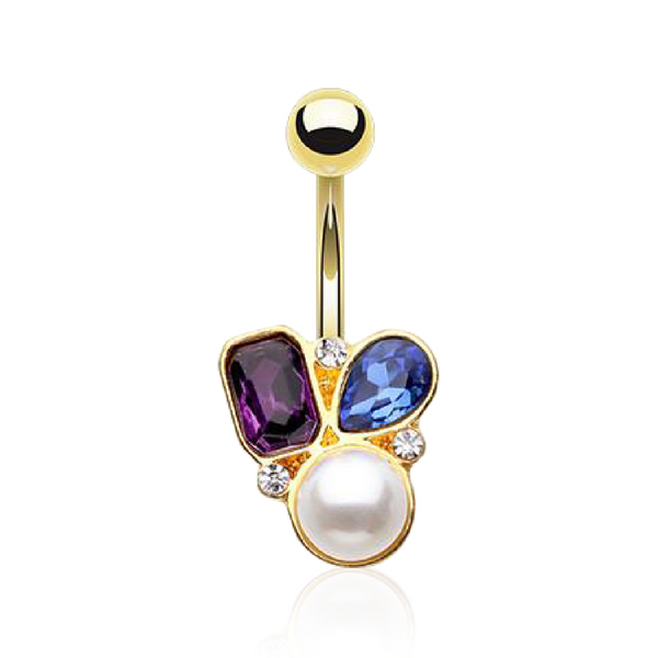 Chic Pearl and Gemstone Cluster Belly Ring