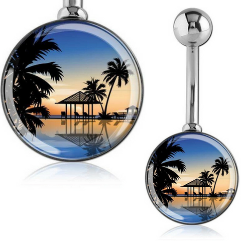 Large 12mm Tropical Print Belly Ring