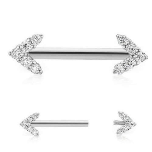 Double Diamond Arrow White Gold Nipple Barbell