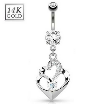14K White Gold Duo Heart Belly Bar