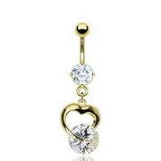 Dangling Gold Plated Heart Belly Button Ring