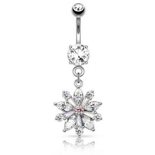 Flower Diamante Dangling Belly Ring.
