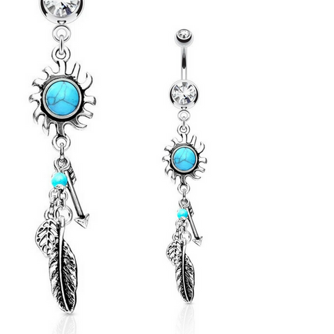 Wild Warrior Turquoise Sunburst Belly Dangle