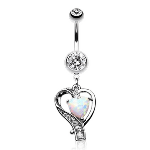 Sensual Heart Dangly Navel Bar