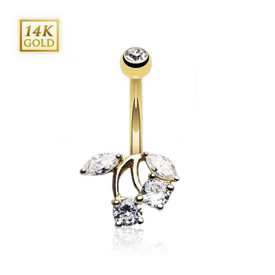 14k Gold Cherry Belly Button Ring