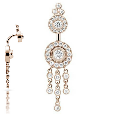 Maria Tash Diamond Pave with Diamond Trinity Dangle 18k Rose Gold Belly Bar