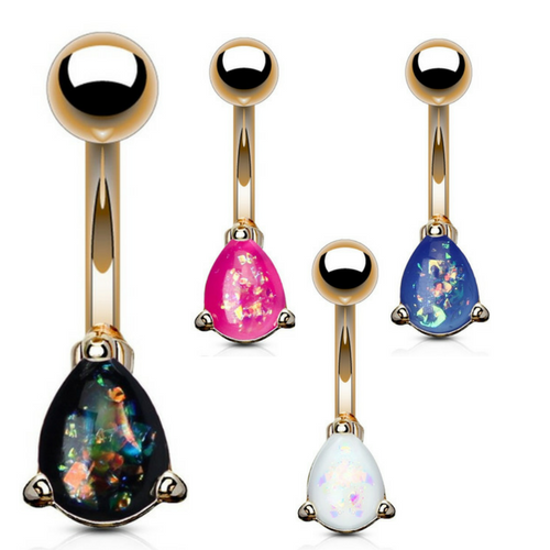 Classic Solitaire Pear Cut Opal Belly Rings in Rose Gold