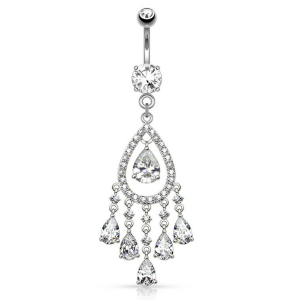 Glamour Packed Dangling Belly Ring in 316L Surgical Steel