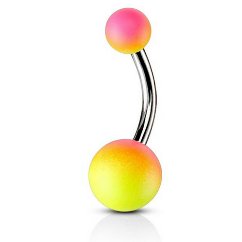 Pink/Yellow Splice Rubber Ball Belly Bar