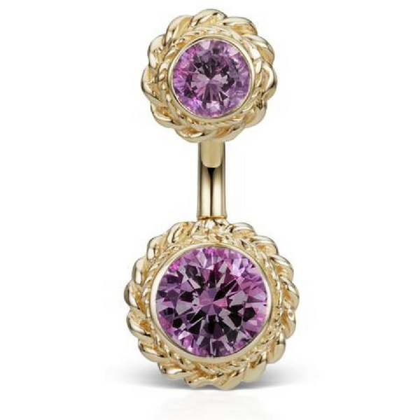 Maria Tash Amethyst Braid 14k Gold Belly Button Ring
