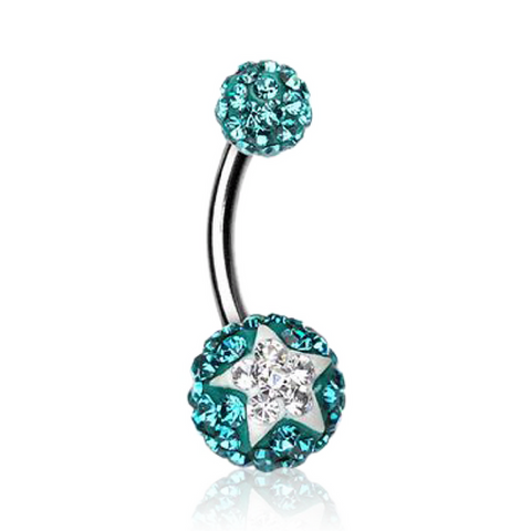 Multi Gem Ferido Ball Belly Bars