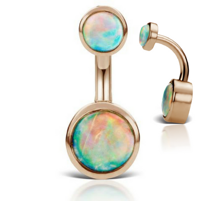 Natural Australian Opal 14k Rose Gold Navel Piercing Ring by Maria Tash