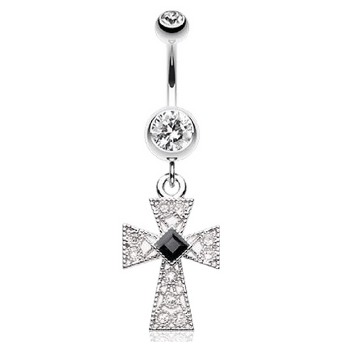 Vintage Cross Belly Button Rings