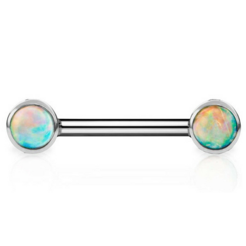 14k White Gold Nipple Barbell with Australian Opal