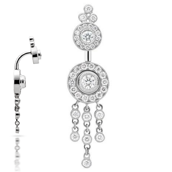 Diamond Pave with Diamond Trinity Dangle 18k White Gold Belly Bar