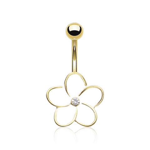 Golden Frangipani Flower Belly Ring