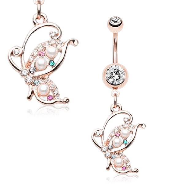 Jewelled Butterfly Belly Ring in Rose Gold