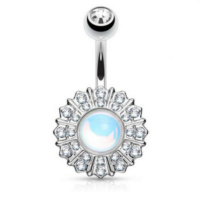 Elegant Reflecting Revo Stone Belly Bar in Surgical Steel
