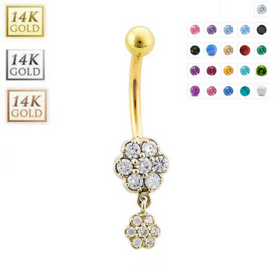 14k Solid Gold Dangling Flower Belly Ring - Handmade Fully Customisable