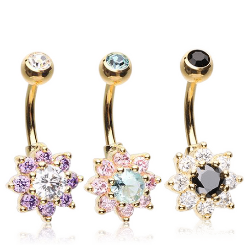 Petite Crystal Flower Navel Bars in 14kt Gold
