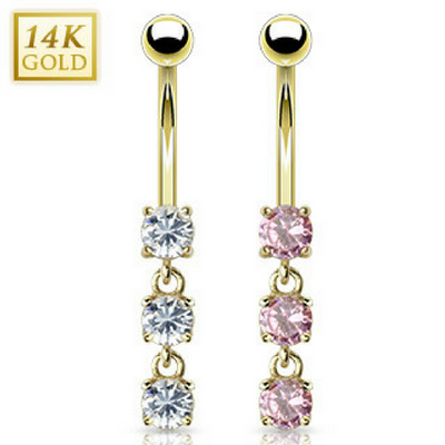 14k Solid Gold Trio Gem Belly Piercing