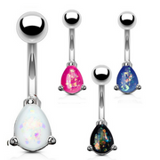 Classic Solitaire Pear Cut Opal Belly Rings