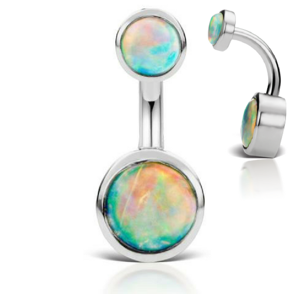 Australian Opal 14k White Gold Belly Piercing Ring