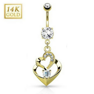 14K Gold Duo Heart Belly Bar
