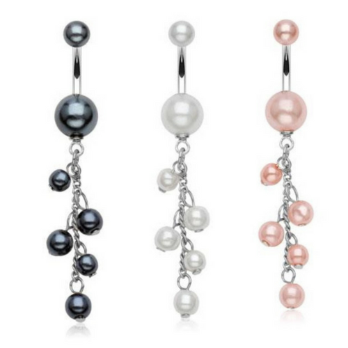 Resizable Pearl Belly Button Rings
