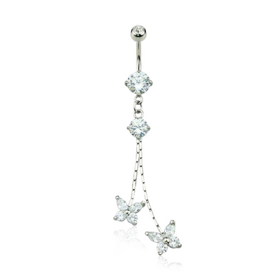 Glistening Butterfly Chain Drop Belly Bar