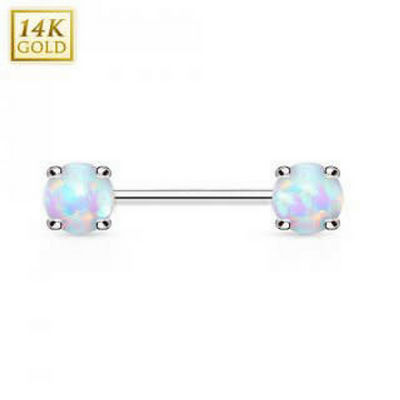 Double Opal 14k Solid White Gold Nipple Bar