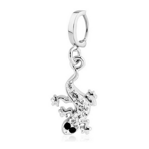 Tiffany Crsystal Lizard Snap Lock Hoop Belly Rings