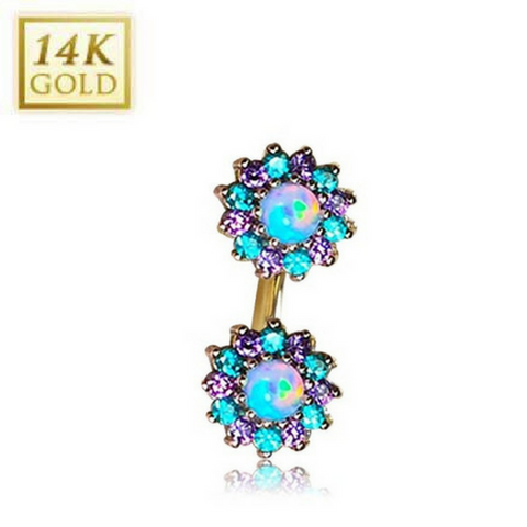 Blue Opal with Lavender & Mint Green Gem Florets 14k Yellow Gold Belly Rings