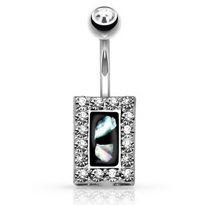 Jewelled Mother Of Pearl Belly Button Ring