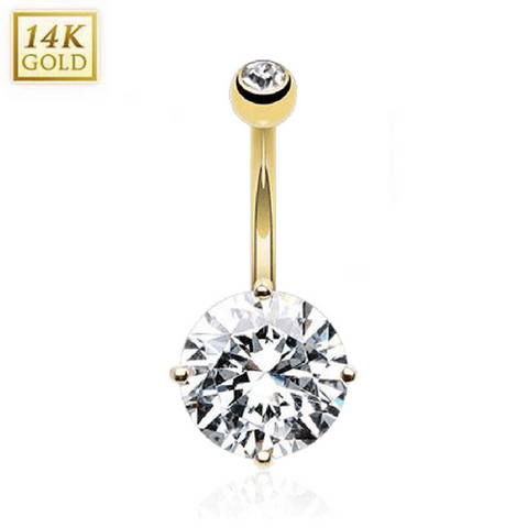 Luxury Kingdom Gem 14k Yellow Gold Belly Bar