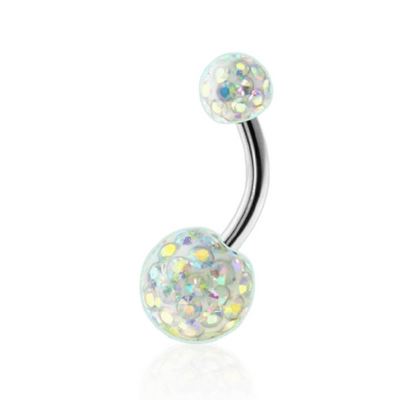 Aurora Shimmer Glitter Burst Belly Piercing Bar