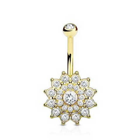 Golden Luciana Crystal Flower Belly Bar