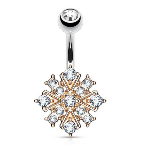 Ethereal Starburst Belly Bar in Rose Gold