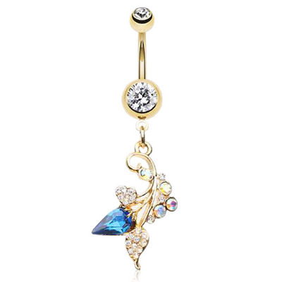 Jewelled Vine Belly Dangle in 14k Gold Plated Surgical Steel