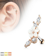 Jewelled Vine with Mother of Pearl FlowerCartilage Stud (helix)