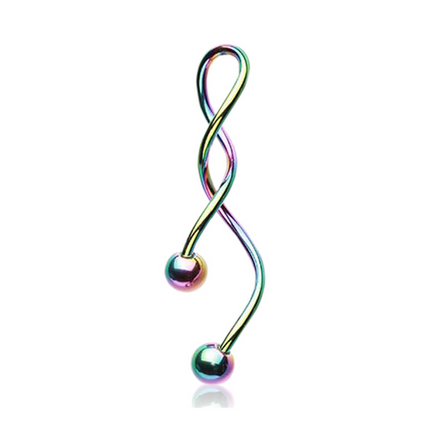 Rainbow Twisted Stista Spiral Belly Ring