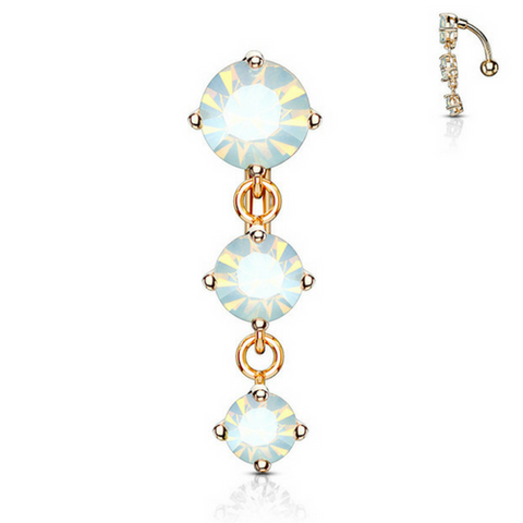 Tantalising Opalescent Gem Fall Belly Bar in Rose Gold