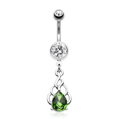 Sophisticated Emerald Green Belly Jewellery with Flaming Silver Design