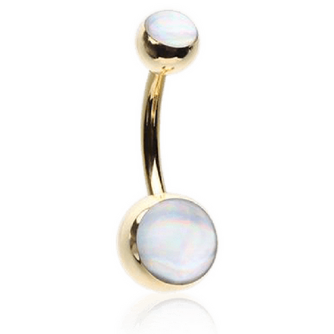 Hologram Sparkel in Yellow Gold Belly Bar