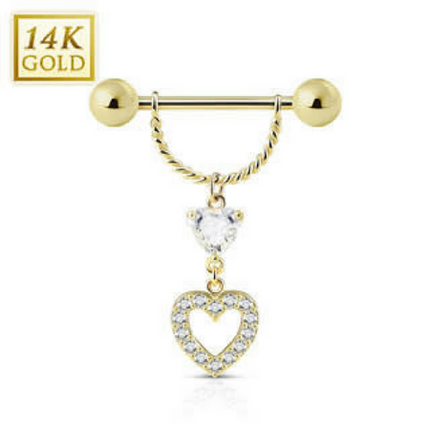 Elegant Heart Pavé 14k Solid Gold Dangly Nipple Ring