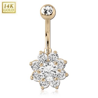 14k Solid Yellow Gold Flower Belly Button Ring