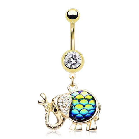 Cute Dangling Gold Elephant Belly Rings